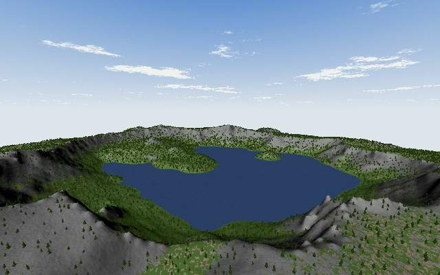 3D rendering of Crater Lake with abstract viewing angle